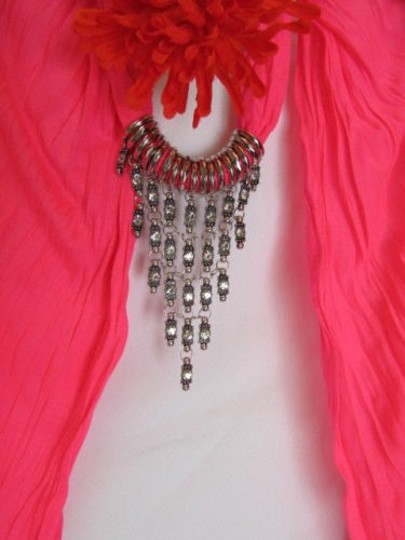 Alwaystyle4you Women Pink Soft Scarf Long Necklace Triangle Rhinestones Pendant Image 2