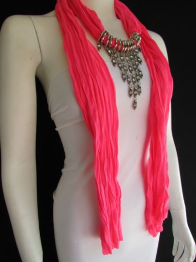 Alwaystyle4you Women Pink Soft Scarf Long Necklace Triangle Rhinestones Pendant Image 3