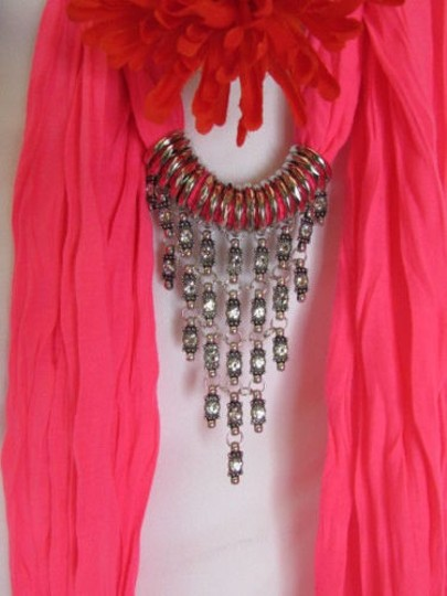 Alwaystyle4you Women Pink Soft Scarf Long Necklace Triangle Rhinestones Pendant Image 4