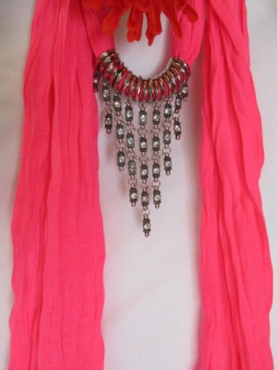 Alwaystyle4you Women Pink Soft Scarf Long Necklace Triangle Rhinestones Pendant Image 6