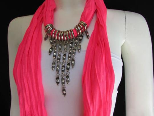 Alwaystyle4you Women Pink Soft Scarf Long Necklace Triangle Rhinestones Pendant Image 7