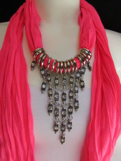 Alwaystyle4you Women Pink Soft Scarf Long Necklace Triangle Rhinestones Pendant Image 8