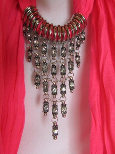 Alwaystyle4you Women Pink Soft Scarf Long Necklace Triangle Rhinestones Pendant Image 9