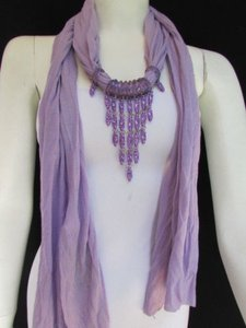 Alwaystyle4you Women Lavander Soft Scarf Long Necklace Triangle Rhinestones Pendant