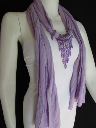 Alwaystyle4you Women Lavander Soft Scarf Long Necklace Triangle Rhinestones Pendant Image 1