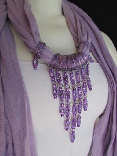 Alwaystyle4you Women Lavander Soft Scarf Long Necklace Triangle Rhinestones Pendant Image 10