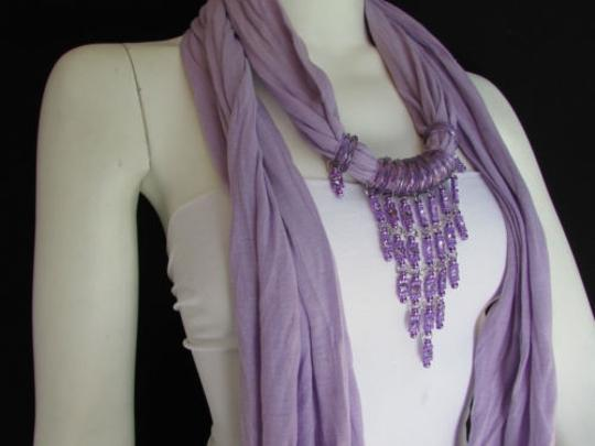 Alwaystyle4you Women Lavander Soft Scarf Long Necklace Triangle Rhinestones Pendant Image 2