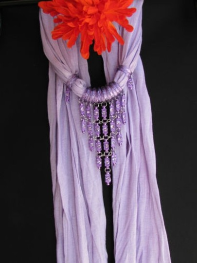 Alwaystyle4you Women Lavander Soft Scarf Long Necklace Triangle Rhinestones Pendant Image 3