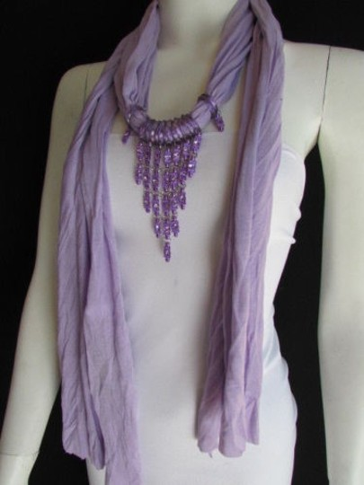 Alwaystyle4you Women Lavander Soft Scarf Long Necklace Triangle Rhinestones Pendant Image 4