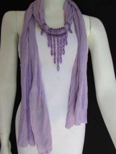 Alwaystyle4you Women Lavander Soft Scarf Long Necklace Triangle Rhinestones Pendant Image 5