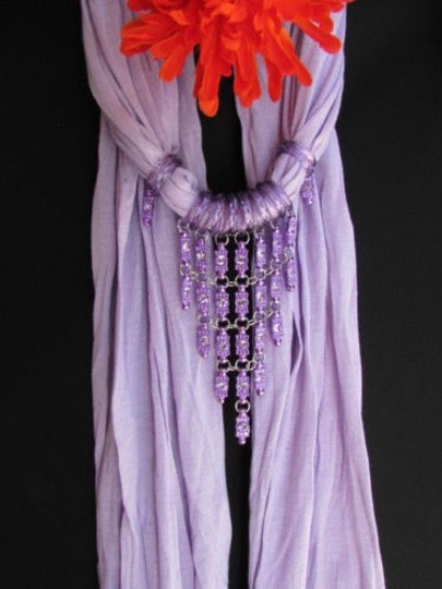 Alwaystyle4you Women Lavander Soft Scarf Long Necklace Triangle Rhinestones Pendant Image 6