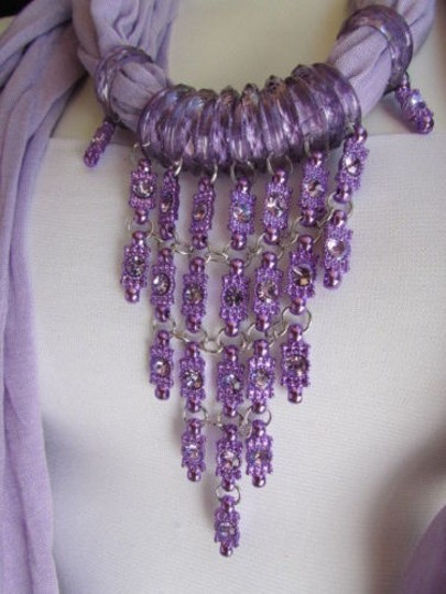 Alwaystyle4you Women Lavander Soft Scarf Long Necklace Triangle Rhinestones Pendant Image 7
