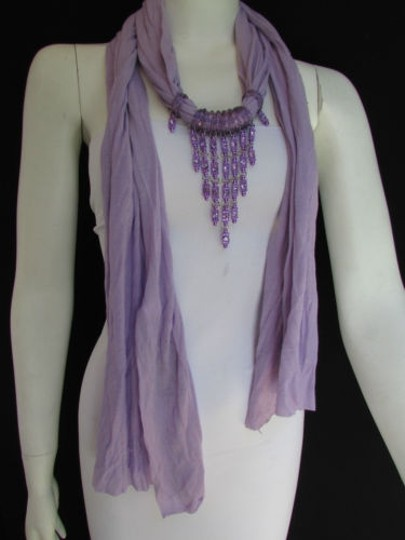 Alwaystyle4you Women Lavander Soft Scarf Long Necklace Triangle Rhinestones Pendant Image 8