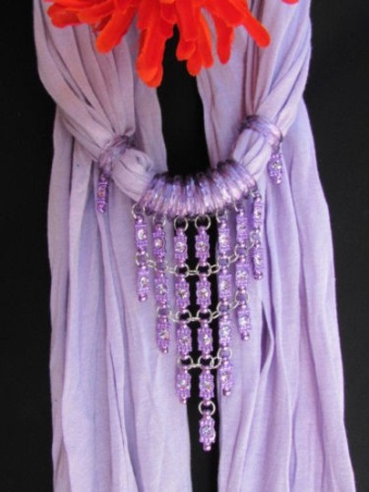 Alwaystyle4you Women Lavander Soft Scarf Long Necklace Triangle Rhinestones Pendant Image 9