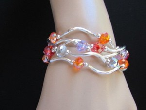 Women Bangle Silver Green Blue Orange Beads Fashion Jewelry Strands Bracelet