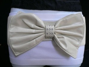 Other Women Hip Waist Elastic Off White Wide Fashion Belt Huge Bow 27-35