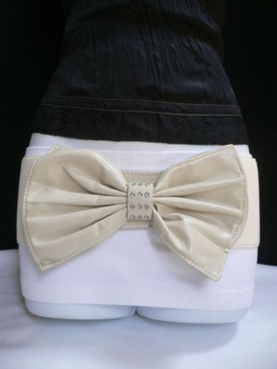 Alwaystyle4you Women Hip Waist Elastic Off White Wide Belt Huge Bow Image 10