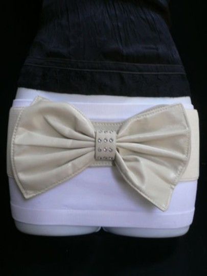 Alwaystyle4you Women Hip Waist Elastic Off White Wide Belt Huge Bow Image 2