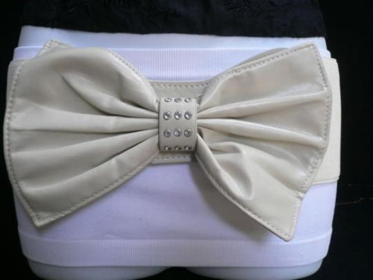 Alwaystyle4you Women Hip Waist Elastic Off White Wide Belt Huge Bow Image 4