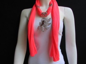 Other Women Bright Coral Fabric Fashion Scarf Necklace Big Silver Butterfly Pendant
