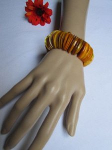 Alwaystyle4you Women 1.25 Wide Orange Honey Stone Beads Elastic Bracelet