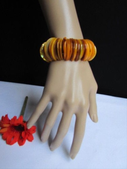 Alwaystyle4you Women 1.25 Wide Orange Honey Stone Beads Elastic Bracelet Image 1