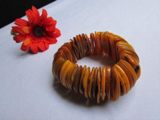 Alwaystyle4you Women 1.25 Wide Orange Honey Stone Beads Elastic Bracelet Image 4