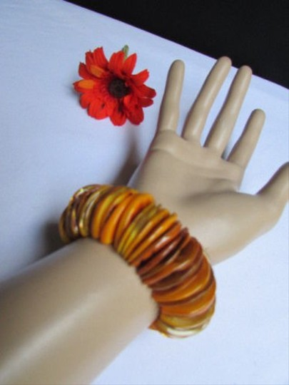 Alwaystyle4you Women 1.25 Wide Orange Honey Stone Beads Elastic Bracelet Image 5