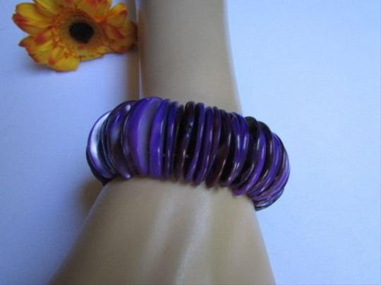 Other Women Wide Elastic Bracelet Purple Stone Beads Trendy Fashion Hawaii