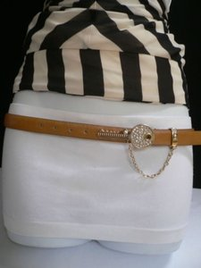 Other Women Hip Waist Brown Thin Fashion Belt Metal Gold Key Buckle 33-39