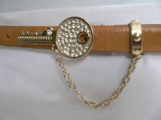Alwaystyle4you Women Hip Waist Brown Thin Fashion Belt Metal Gold Key Buckle Image 2