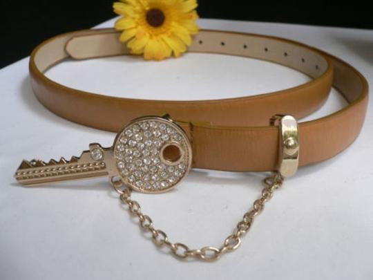 Alwaystyle4you Women Hip Waist Brown Thin Fashion Belt Metal Gold Key Buckle Image 9