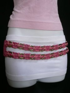 Other Women Hip Waist Elastic Two Rows Metal Rings Pink Fashion Belt 28-36
