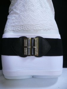 Women Elastic Hip Waist Black Belt Rhinestones Pewter Buckle 28-38 S-l