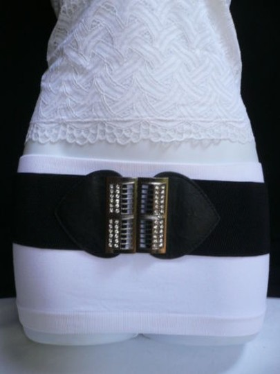 Alwaystyle4you Women Elastic Hip Waist Black Belt Rhinestones Pewter Buckle Image 2