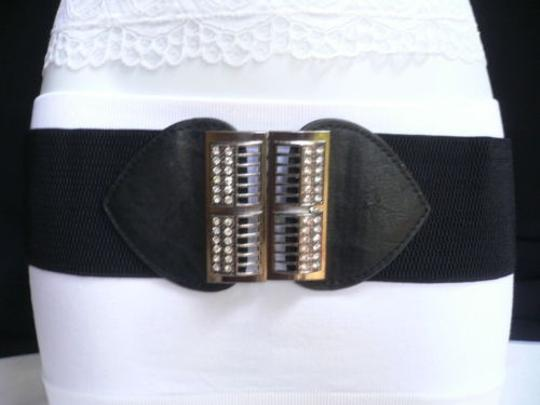 Alwaystyle4you Women Elastic Hip Waist Black Belt Rhinestones Pewter Buckle Image 7