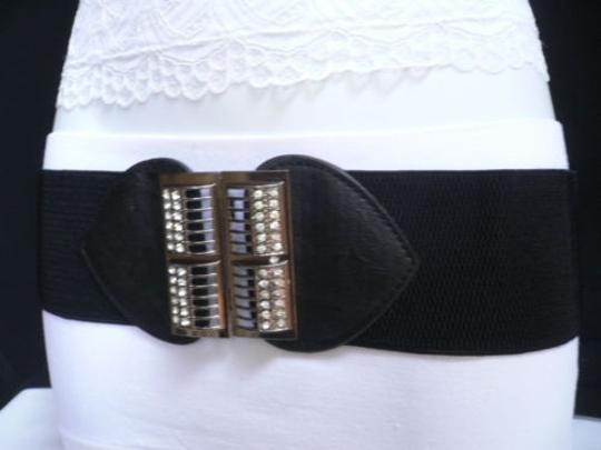Alwaystyle4you Women Elastic Hip Waist Black Belt Rhinestones Pewter Buckle Image 8