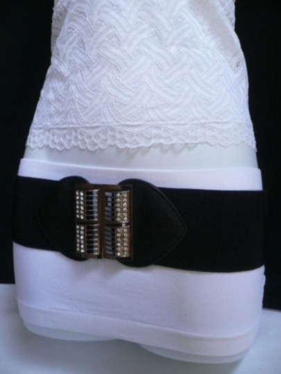 Alwaystyle4you Women Elastic Hip Waist Black Belt Rhinestones Pewter Buckle Image 9
