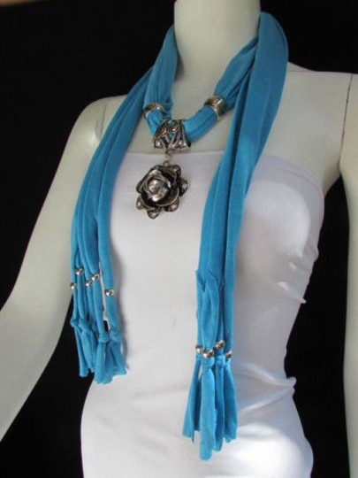 Alwaystyle4you Women Soft Fabric Blue Scarf Long Necklace Big Metal Flower Pendant Image 1
