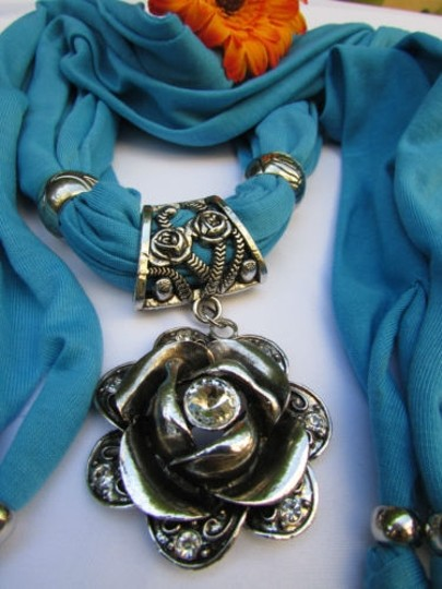 Alwaystyle4you Women Soft Fabric Blue Scarf Long Necklace Big Metal Flower Pendant Image 10
