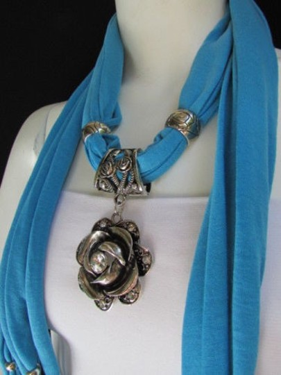 Alwaystyle4you Women Soft Fabric Blue Scarf Long Necklace Big Metal Flower Pendant Image 2
