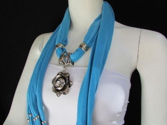 Alwaystyle4you Women Soft Fabric Blue Scarf Long Necklace Big Metal Flower Pendant Image 3