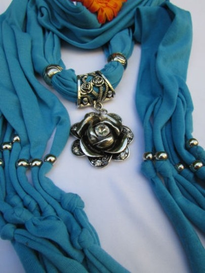 Alwaystyle4you Women Soft Fabric Blue Scarf Long Necklace Big Metal Flower Pendant Image 4