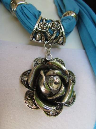 Alwaystyle4you Women Soft Fabric Blue Scarf Long Necklace Big Metal Flower Pendant Image 6