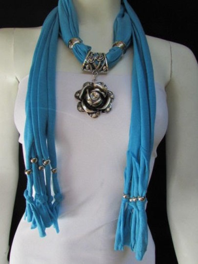 Alwaystyle4you Women Soft Fabric Blue Scarf Long Necklace Big Metal Flower Pendant Image 7
