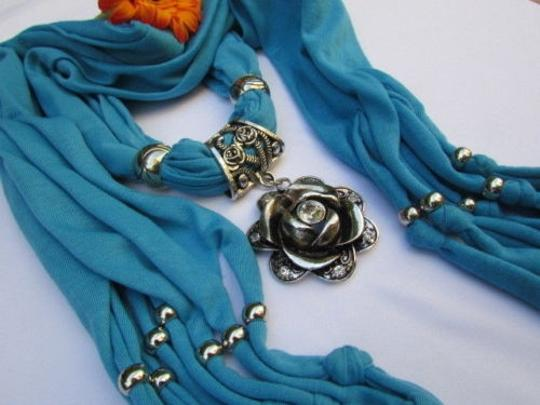 Other Women Fashion Soft Fabric L. Blue Scarf Long Necklace Big Metal Flower Pendant