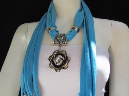 Alwaystyle4you Women Soft Fabric Blue Scarf Long Necklace Big Metal Flower Pendant Image 9