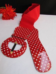 Women Hip Waist Elastic Red Fashion Belt White Polka Dots Stretch Fabric