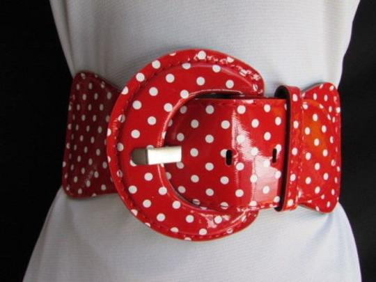 Other Women Hip Waist Elastic Red Fashion Belt White Polka Dots Stretch Fabric