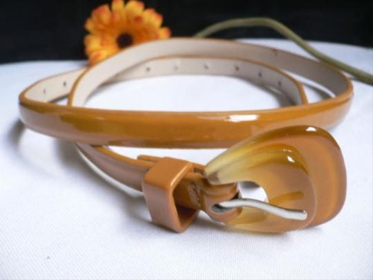 Other Women Mocha Brown Thin Faux Leather Narrow Belt Candy Buckle 28-37